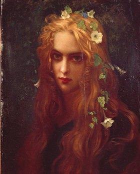 Ernest Hébert: Antlitz eines jungen Mädchens mit blumengeschmücktem Haar (Ophelia). 1876