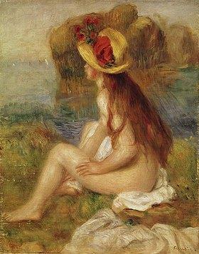 Auguste Renoir: Sitzende Badende mit blumengeschmücktem Strohhut