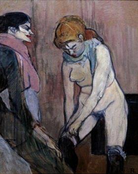 Henri de Toulouse-Lautrec: Frau beim Strümpfe anziehen