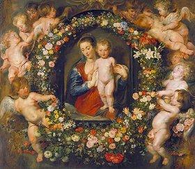 Peter Paul Rubens: Die Madonna im Blumenkranz. Der Blumenkranz von Jan Brueghel d.Ä. (1568-1625)