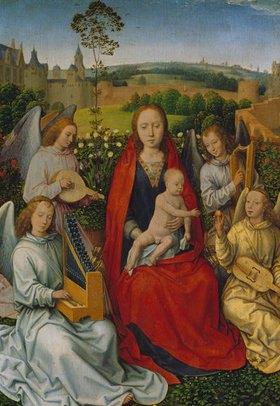 Hans Memling: Maria im Rosenhag. Linker Flügel eines Diptychons