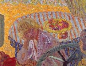 Pierre Bonnard: Junge Frau mit gestreiftem Tischtuch (La nappe rayée)