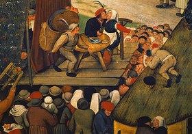 Pieter Brueghel d.J.: Die Ehebrecher. Ausschnitt aus einem Gemälde 'Dörfliches Fest'