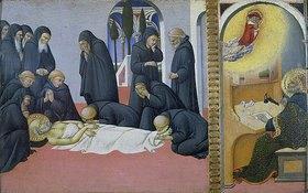 Sano di Pietro: Tod des hl. Hieronymus und Erscheinung vor Cyrillus, Bischof von Jerusalem