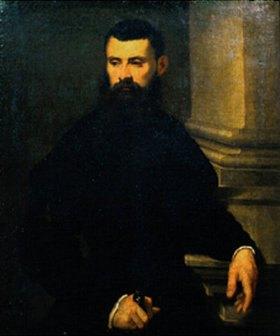 Tintoretto (Jacopo Robusti): Bildnis eines bärtigen Mannes in schwarzem Mantel