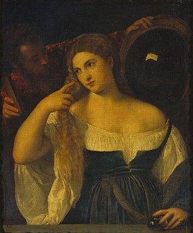 Tizian (Tiziano Vecellio): Bildnis einer Frau bei der Toilette (Allegorie der Eitelkeit)