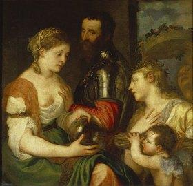 Tizian (Tiziano Vecellio): Allegorie (die Hochzeit?) des Alphonse d'Avalos, mit Vesta und Hymen
