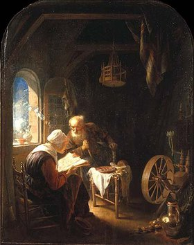 Gerrit (Gerard) Dou: Altes Paar beim Lesen der Bibel