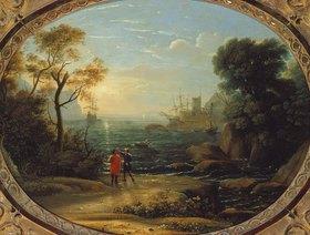 Claude Lorrain (Gellée): Hafenszene bei untergehender Sonne
