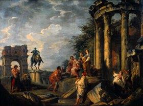 Giovanni Paolo Pannini: Antike Ruinen mit Janus-Tor, Vesta-Tempel und Reiterstandbild Marc Aurels