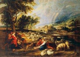 Peter Paul Rubens: Ländliche Szene mit Schafherde und Regenbogen