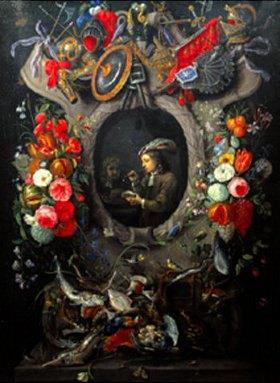 David Teniers: Mit Seifenblasen spielender junger Mann in einem ornamentalen Medaillon