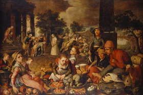 Pieter Aertsen: Marktszene mit Christus und der Ehebrecherin