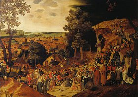 Pieter Brueghel d.J.: Christus trägt das Kreuz auf den Kalvarienberg