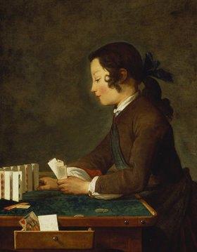 Jean-Baptiste Siméon Chardin: Junges Mädchen (junger Knabe?) baut ein Kartenhaus