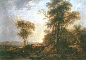 Johann Alexander Thiele: Landschaft mit Brücke und reitendem Hirten