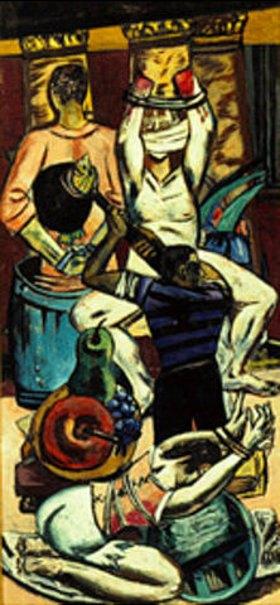 Max Beckmann: Triptychon Die Abfahrt. 1932/1933. Linker Flügel