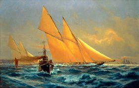 Willy Stöwer: Die letzte Meteor des Kaisers im Rennen mit der Yacht Germania