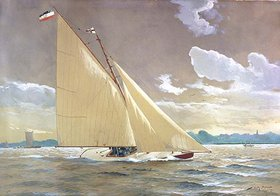 """Willy Stöwer: Die Segelyacht """"Henny III."""" des Malers"""