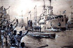 Willy Stöwer: Die Ankunft von U-9 in Wihelmshaven