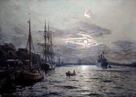 Willy Stöwer: Mondnacht im Hafen von Swinemünde