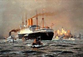 Willy Stöwer: Der Hapag-Dampfer Deutschland bei der Ankunft in New York