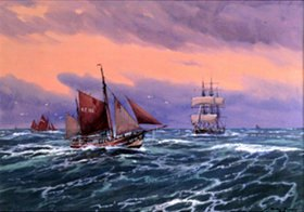 Willy Stöwer: Zwei Finkenwerder Besan-Ewer in der Nordsee