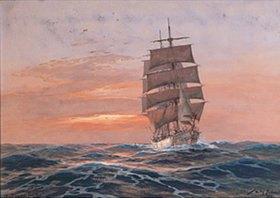 Willy Stöwer: Vollschiff vor untergehende Sonne