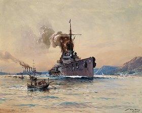 Willy Stöwer: Die Panzerkreuzer Goeben und Breslau vor Messina