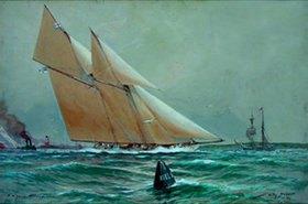 Willy Stöwer: Die Kaiser-Yacht  Meteor vor Friedrichsort