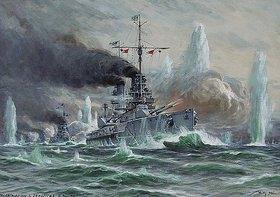 Willy Stöwer: Die Seeschlacht vor dem Skagerrak am 31.Mai 1916. Entstanden