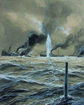 Willy Stöwer: Ein deutsches U-Boot torpediert einen Geleitzug von Handesschiffen