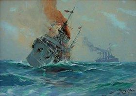 Willy Stöwer: Das Ende des kl. Kreuzers Nürnbergbei den Falkland-Inseln