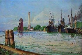 Willy Stöwer: Minensuchboote der Handelsschutzflotille in Osternothafen