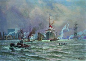 Willy Stöwer: Betrieb im Hamburger Hafen. Im Hintergrund die Cap Polonio