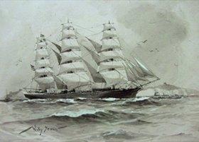Willy Stöwer: Ein Vollschiff vor den Felsen von Dover