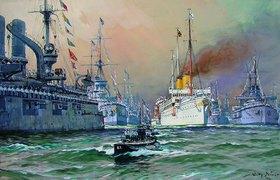 Willy Stöwer: Kaiser Wilhelm II auf der Kaiserjacht Hohenz. bei der Flottenparade