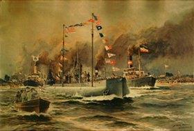 Willy Stöwer: Das Handels-U-Boot Deutschlandnach der Rückkehr aus Amerika