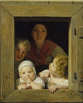 Ferdinand Georg Waldmüller: Junge Bäuerin mit drei Kindern im Fenster
