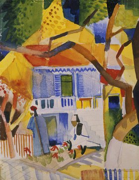 August Macke: Innenhof des Landhauses in St. Germain. 1914.