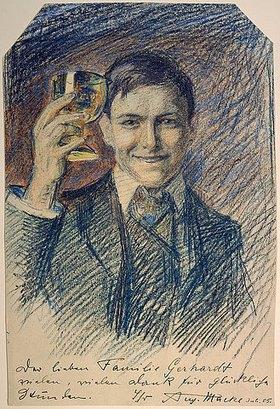 August Macke: Selbstbildnis mit Weinglas