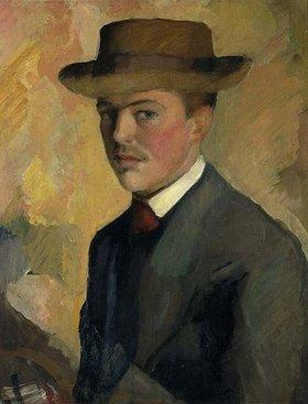 August Macke: Selbstbildnis mit Hut. 1909 (Rückseitig männl. Portraidstudie)