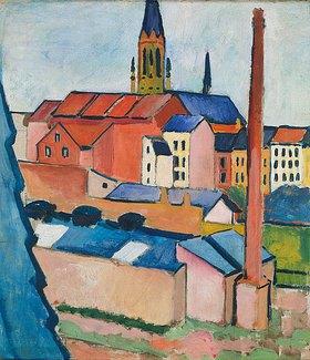 August Macke: Marienkirche in Bonn mit Häusern und Schornstein (Blick aus dem Atelier)