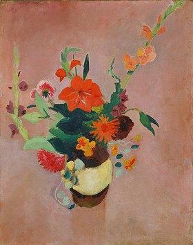August Macke: Strauss mit Gladiolen auf rosa Grund. 1914.