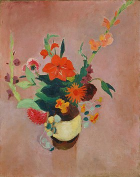 August Macke: Strauss mit Gladiolen auf rosa Grund