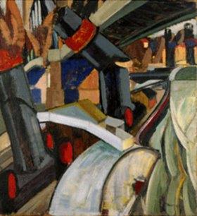 Hans Thuar: Raddampfer unter Brücke