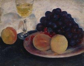 August Macke: Stilleben mit Pfirsichen, Trauben und Weinglas