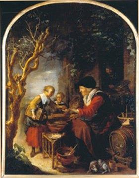 Gerrit (Gerard) Dou: Die Pfannkuchen-Verkäuferin