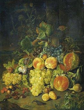 Johann Daniel Bager: Stillleben mit Früchten (vorne links Kirschen)