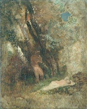 Arnold Böcklin: Waldlandschaft mit Faun und Nymphe